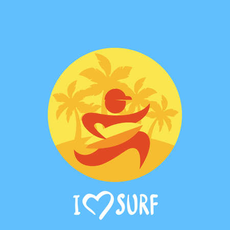 Vector flat illustration of running man with yellow surf board on palm tree beach background. Abstract circle logo design template. Vector