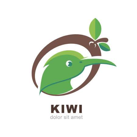 kiwi: Head of kiwi bird in shape of kiwi fruit with green leaves, isolated on white background. Vector logo design template. Flat abstract illustration. Illustration