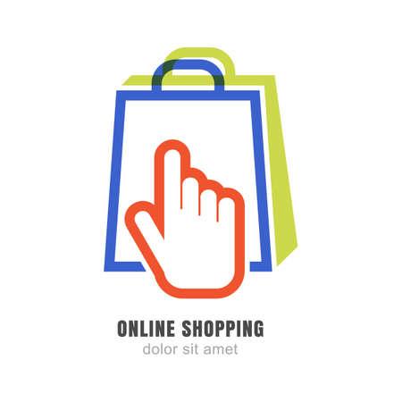 compras: Vector logo plantilla de diseño. Símbolo de la mano puntero y bolsa de compras. Concepto abstracto para la tienda en línea.
