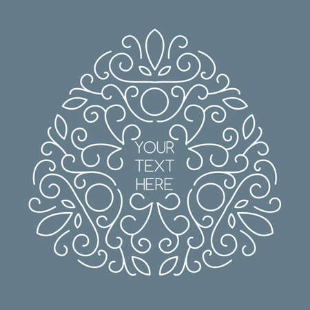 flower logo: Vector line art style triangle frame with place for text. Abstract floral decorative background in grey and white color.