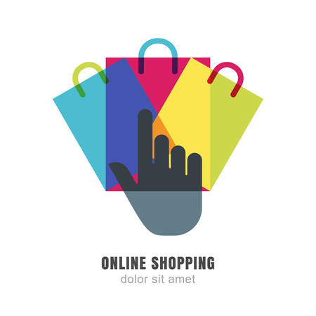 online logo: Vector logo design template. Hand pointer symbol and three multicolor shopping bags. Abstract background concept for online store.
