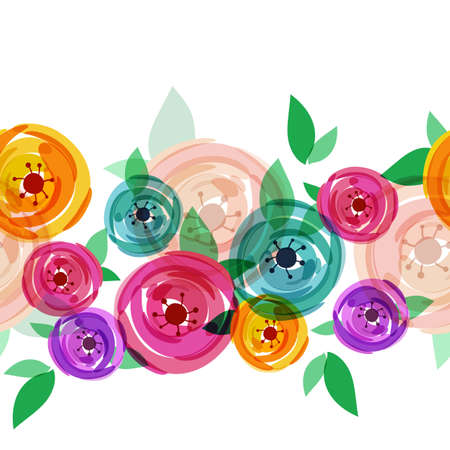 for women: Vector seamless summer background with abstract multicolor rose flowers. Floral illustration with place for text. Concept for greeting birthday card, wedding invitation, international women day.