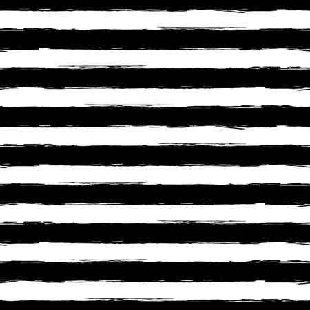 ベクトル水彩ストライプ グランジ シームレス パターン。黒と白のブラシ ストロークの背景を抽象化します。  イラスト・ベクター素材