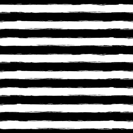 Vector watercolor stripe grunge seamless pattern. Abstract black and white brush strokes background.
