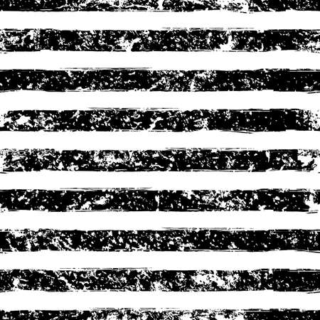 Hand drawn abstract vector watercolor stripe grunge seamless pattern. Black and white texture background. Ilustração