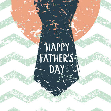 mens: Happy Fathers day vector greeting card. Zigzag stripe seamless pattern with mens necktie. Abstract background.