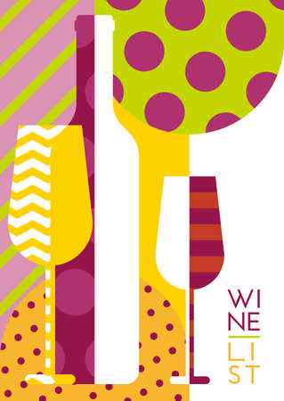 party drinks: Vector creative wine bottle glass silhouette with multicolor pattern. Abstract flat geometric background. Concept for wine list menu flyer party alcohol drinks poster design.