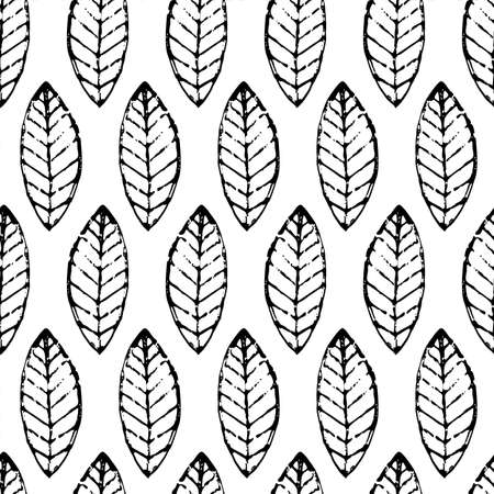 leaf pattern: Watercolor hand drawn vector leaf seamless pattern. Abstract grunge black and white texture background. Nature organic line illustration.
