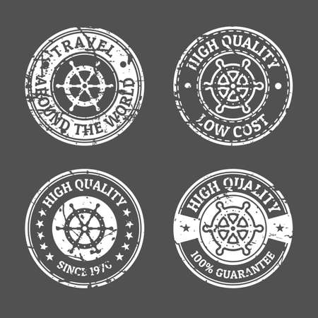 ship steering wheel: Set of grunge vintage style sea and summer nautical signs badges and labels. Vector black and white logo design template. Line ship steering wheel symbol.