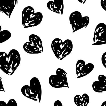 white heart: Hand drawn vector heart ornament watercolor seamless pattern. Abstract grunge black and white geometric texture background.