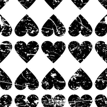 hearts background: Hand drawn vector seamless pattern with hearts. Abstract grunge black and white geometric texture background.