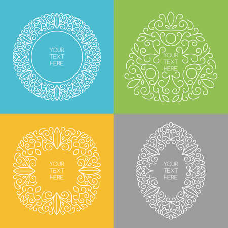 Set of vector line art style round square triangle oval frames with place for text. Abstract floral decorative background blue green yellow grey white colors. Vector
