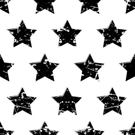 Hand drawn vector seamless pattern with black stars isolated on white background. Abstract grunge texture. Vector