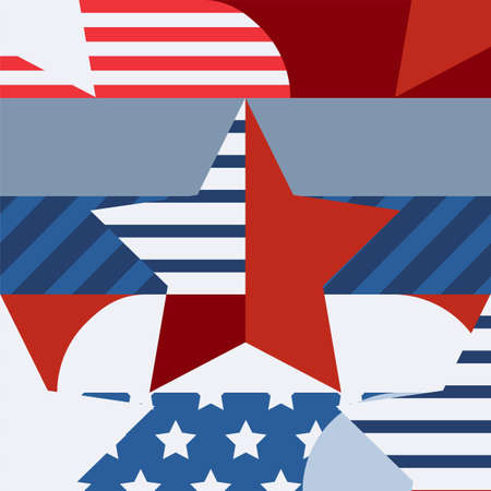 Happy 4th of July, USA Independence Day, vector seamless pattern. Multicolor star and flag, creative color blocking background. Abstract design concept for greeting card, banner, flyer, poster. Vector