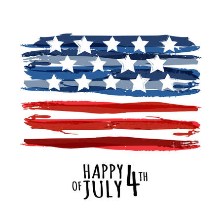 Happy 4th of July, USA Independence Day. Vector abstract grunge background with place for text. Watercolor design concept for greeting card, banner, flyer, poster.  イラスト・ベクター素材