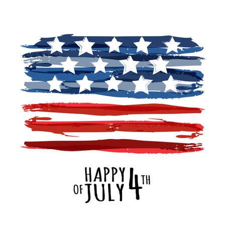 Feliz el 4 de julio, Día de la Independencia EE.UU.. Fondo abstracto del vector del grunge con lugar para el texto. Acuarela concepto de diseño de tarjeta de felicitación, bandera, folleto, cartel.