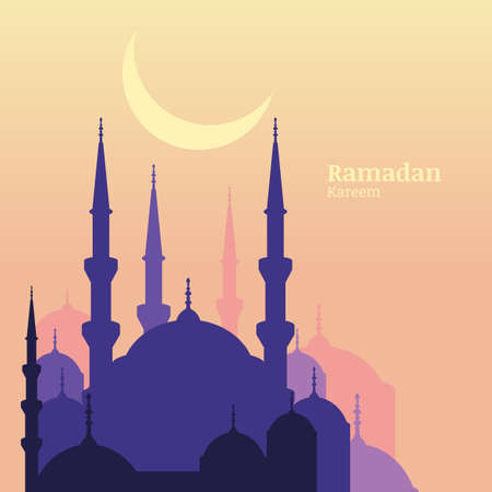 Ramadan Kareem greeting card with silhouette of purple mosque and moon. Sunset vector background with place for text. Design concept for muslim holiday.
