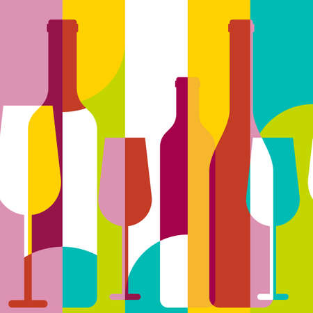 Vector seamless background, wine bottle and glass silhouette. Abstract flat color blocking geometric illustration. Concept for wine list, menu, party, alcohol drinks, poster design. Çizim