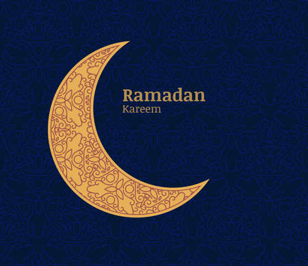 Ramadan greeting card with golden decorative moon and floral seamless pattern background. Ramadan Kareem. Design concept for muslim holiday.