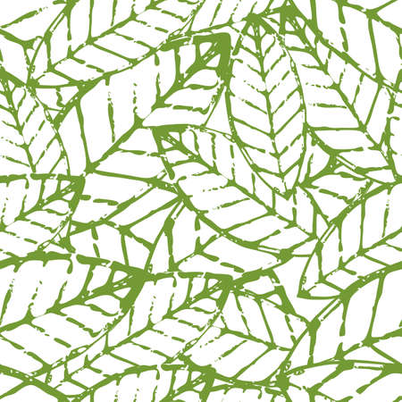 Watercolor vector leaf seamless pattern. Abstract grunge green and white texture background. Nature organic hand drawn illustration.