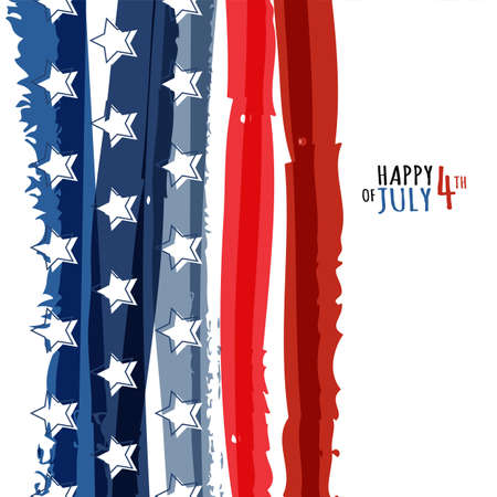 Happy 4th of July, USA Independence Day. Vector abstract grunge background with place for text. Watercolor design concept for greeting card, banner, flyer, poster. Vector