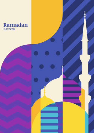 raya: Ramadan vector greeting card, silhouette of mosque with geometric pattern. Abstract flat color blocking vector background. Ramadan Kareem. Creative design concept for muslim holiday. Illustration