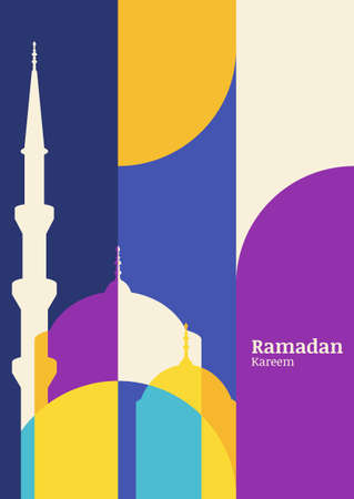 Ramadan vector greeting card with silhouette of mosque. Abstract flat color blocking vector background. Ramadan Kareem. Creative design concept for muslim holiday.