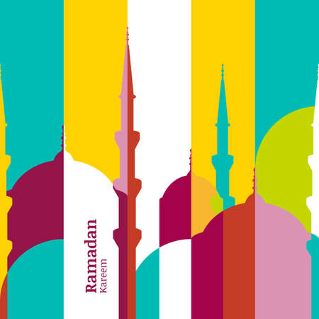 religion: Ramadan vector greeting card with silhouette of mosque. Vector multicolor seamless background. Ramadan Kareem. Creative design concept for muslim holiday.
