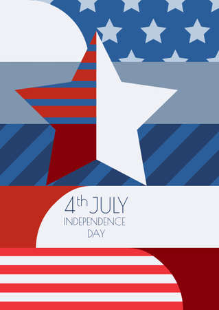 Happy 4th of July, USA Independence Day, vector greeting card. Multicolor star and flag, creative color blocking background. Abstract design concept for greeting card, banner, flyer, poster. Vector