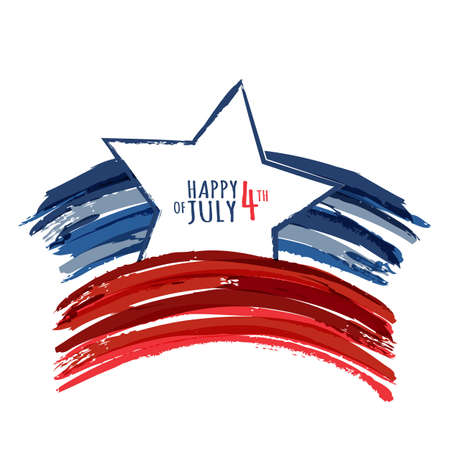Happy 4th of July, USA Independence Day. Vector abstract grunge background with place for text. Watercolor design concept for greeting card, banner, flyer, poster. Ilustração