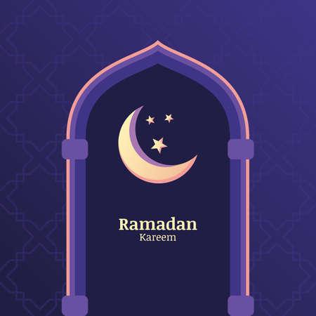 estrellas moradas: Ramadán Kareem vector de fondo con el cielo nocturno, la luna, las estrellas en la ventana. Plantilla de la tarjeta de felicitación con el lugar de texto. Concepto de diseño para la fiesta musulmana.