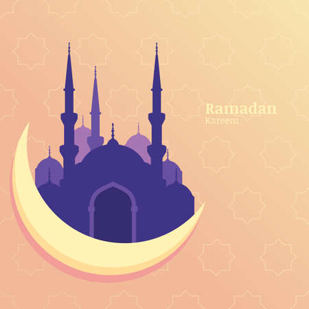 hari raya: Ramadan Kareem vector greeting card, silhouette of purple mosque on moon. Star pattern yellow background. Design concept for muslim holiday. Illustration