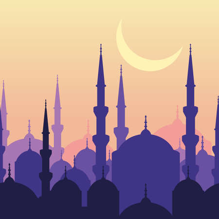 Ramadan vector greeting card with silhouette of mosque and moon. Sunset landscape, seamless background. Ramadan Kareem. Design concept for muslim holiday.
