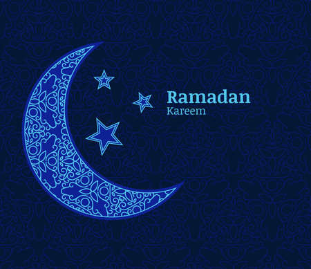 hari raya: Ramadan greeting card with light blue decorative moon, stars and floral seamless pattern background. Ramadan Kareem. Design concept for muslim holiday.