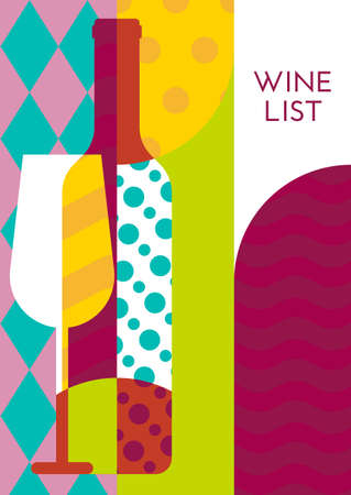 party drinks: Creative wine bottle, glass with multicolor pattern. Vector abstract flat geometric background illustration. Concept for wine list, menu, flyer, party, alcohol drinks, poster design.