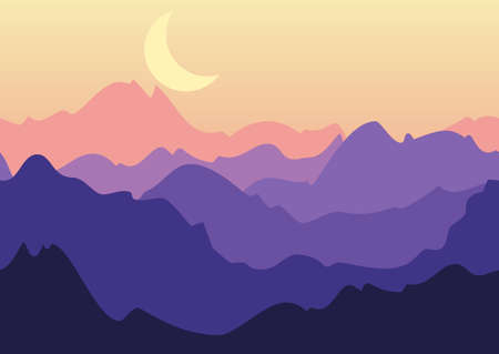Vector night landscape, purple mountains and moon on sky. Nature seamless background. Vector