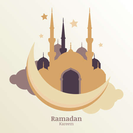 Ramadan Kareem vector greeting card, silhouette of golden mosque on moon and clouds.  Design concept for muslim holiday. Vector