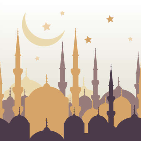 Ramadan vector greeting card with silhouette of golden mosque, moon and stars. Abstract vector seamless background. Ramadan Kareem. Design concept for muslim holiday.