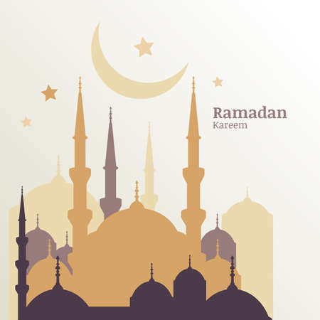 Ramadan Kareem greeting card with silhouette of golden mosque, moon and stars. Abstract vector background with place for text. Design concept for muslim holiday. Vector