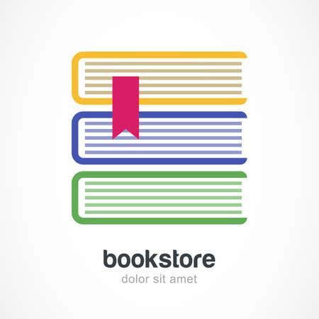 buchhandlung: Vektor-Logo-Design-Vorlage. Drei mehrfarbige B�cher flach Symbol. Abstraktes Konzept f�r Buchhandlung, Ausbildung, elektronische Bibliothek, in der Schule.