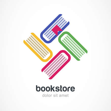Vector logo design template. Multicolor books flat icon. Abstract concept for bookstore, education, electronic library, school.