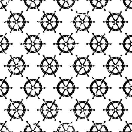 steering wheel: Hand drawn vector seamless pattern with black steering wheel isolated on white background. Abstract sea theme grunge texture. Illustration