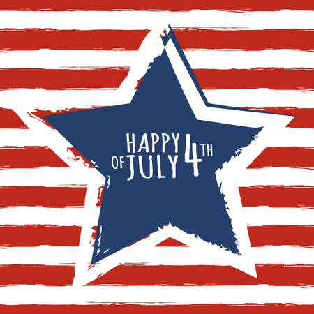 the concept of independence: Happy 4th of July, USA Independence Day. Watercolor blue star on seamless grunge red stripe vector background. Abstract design concept for greeting card, banner, flyer, poster.