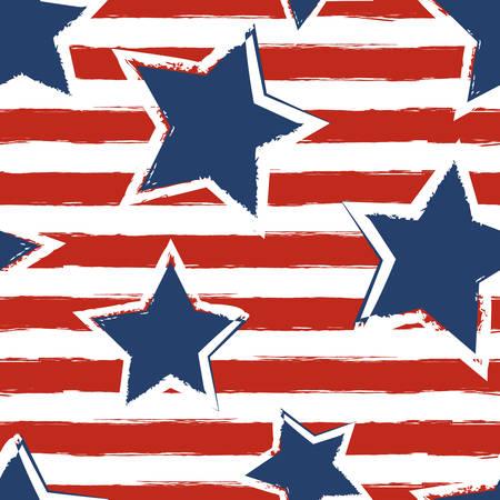 rayas: Feliz el 4 de julio, D�a de la Independencia EE.UU. fondo. Vector patr�n de la bandera sin fisuras, acuarela azul de estrellas y rayas rojas. Concepto de dise�o abstracto para la tarjeta de felicitaci�n, bandera, folleto, cartel.