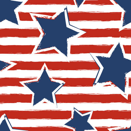 stars and stripes: Happy 4th of July, USA Independence Day background. Vector seamless flag pattern, watercolor blue star and red stripes. Abstract design concept for greeting card, banner, flyer, poster.