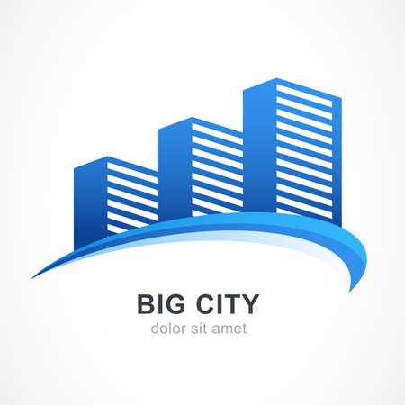 city life: Blue city buildings silhouette. Vector logo design template. Abstract concept for real estate agency, building company, urban landscape, city life. Illustration