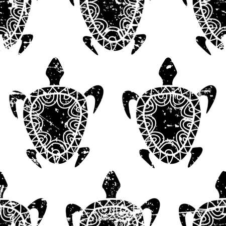 animal pattern: Vector seamless summer grunge pattern. Hand drawn black turtle isolated on white background. Abstract sea theme grunge texture.