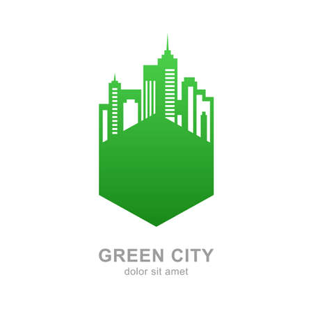 building estate: City buildings silhouette. Vector green logo design template. Abstract concept for real estate agency, building company, urban landscape, city life.