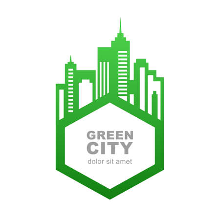 City buildings silhouette. Vector logo design template. Green frame for text. Abstract concept for real estate agency, building company, urban landscape, city life.