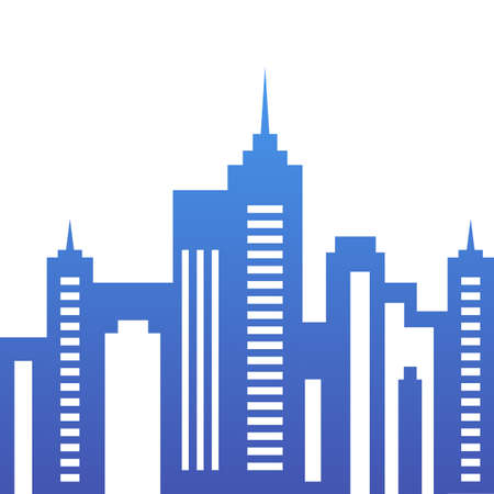 city live: Vector city buildings silhouette, abstract blue background. Concept for real estate agency, building company, urban landscape, city life. Illustration